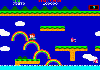The game is a race to the top of the screen before the island sinks to the water.
