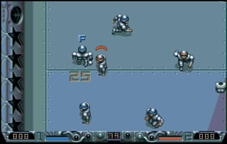 The game is played on metalic pitch, with powerups dotted everywhere.